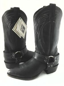 1eae1dfb3a7 FRYE Cowboy Boots BILLY Harness Rugged Antiqued Black Men's US 8.5 ...