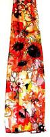 Scarf Bright Orange Black White Green Yellow Floral Fantasy Flowers