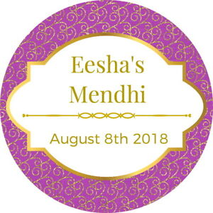 21 PERSONALISED GLOSS GOLD WEDDING NIKKAH MEHNDI FAVOUR STICKERS