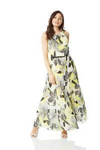 Floral-Halter-Neck-Maxi-Dress-Summer-Evening-Roman-Originals-Women
