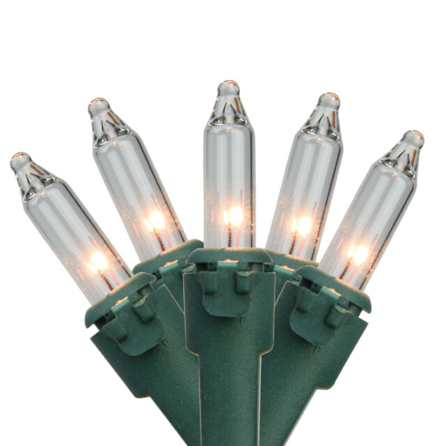 Christmas  50 Mini Light Set Clear /%40 Energy Saving  Lights ~  green wire  UL