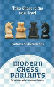 Musketeer Chess Variant Kit - Fortress & Unicorn - Black & Natural