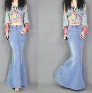 New-Stylish-Womens-Washed-Jeans-Fashion-Denim-Fish-Tail-Long-Skirt-Hot-Sale-Size