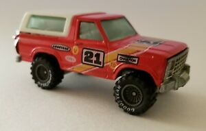 Vintage-1980-Hot-Wheels-Red-Ford-Bronco-Diecast-Truck-Motorcycle-Malaysia