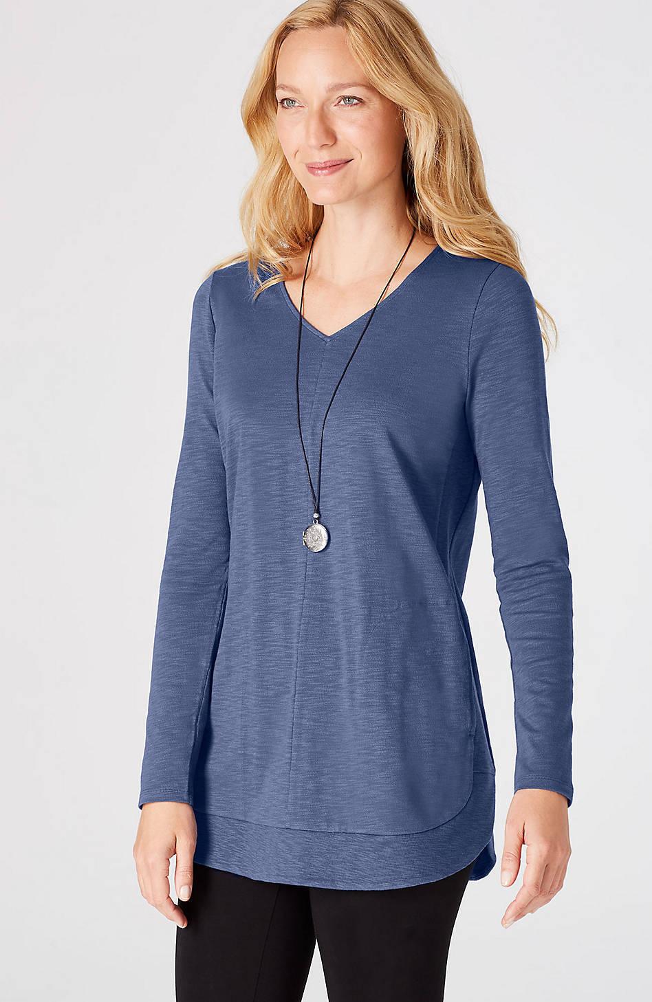 J. Jill - Super Comfortable Imperial Blau Knit Shirttail Tunic, M may fit L  NWT