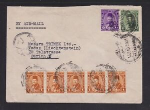 EGYPT-1940s-50s-TWO-CENSORED-AIRMAIL-COVERS-ALEXANDRIA-amp-CAIRO-TO-SWITZERLAND