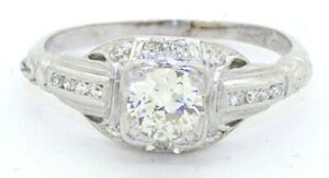 Antique-designer-heavy-18K-WG-0-69CT-diamond-filigree-wedding-ring-size-4-75