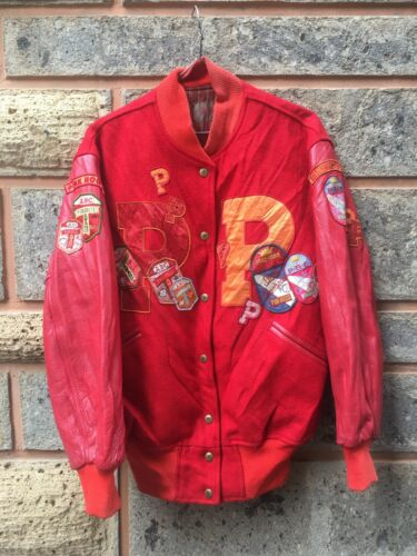 Rare Japanese Brand Pink House Red Varsity Big Pat