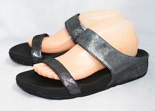 af7f49d332fe FITFLOP 506-001 Lulu Shimmersuede Slide Sandal Wo s 9 Black Glitter 2 Strap  Flat