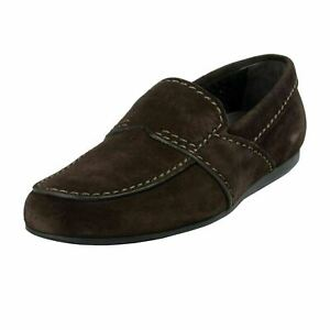 Prada-Men-039-s-Dark-Brown-Suede-Leather-Moccasins-Slip-On-Shoes-US-11-IT-10-EU-44