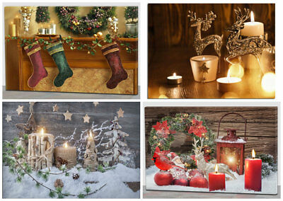 Christmas Decoration Light Up Led Canvas Wall Art Picture Flickering Candles Ebay