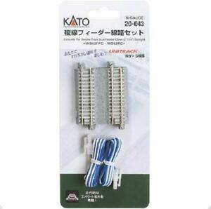 Kato-20-043-Alimentation-Voie-Double-Double-Track-Feeder-62mm-2pcs-N