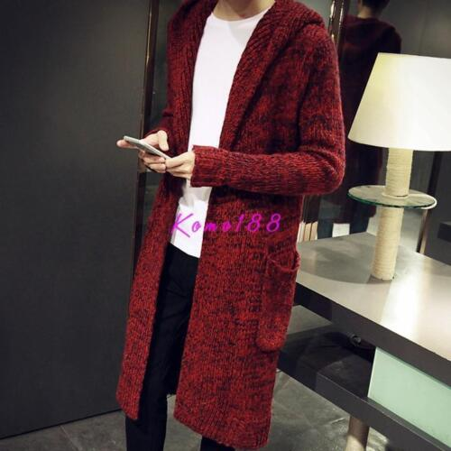 korean 1 Mens Knitted Jacket Long Cardigan Hooded Coat Sweater