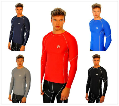 Mens CoolBase Compression Base layer Shirt Top Long Sleeve Skin Leggings Black