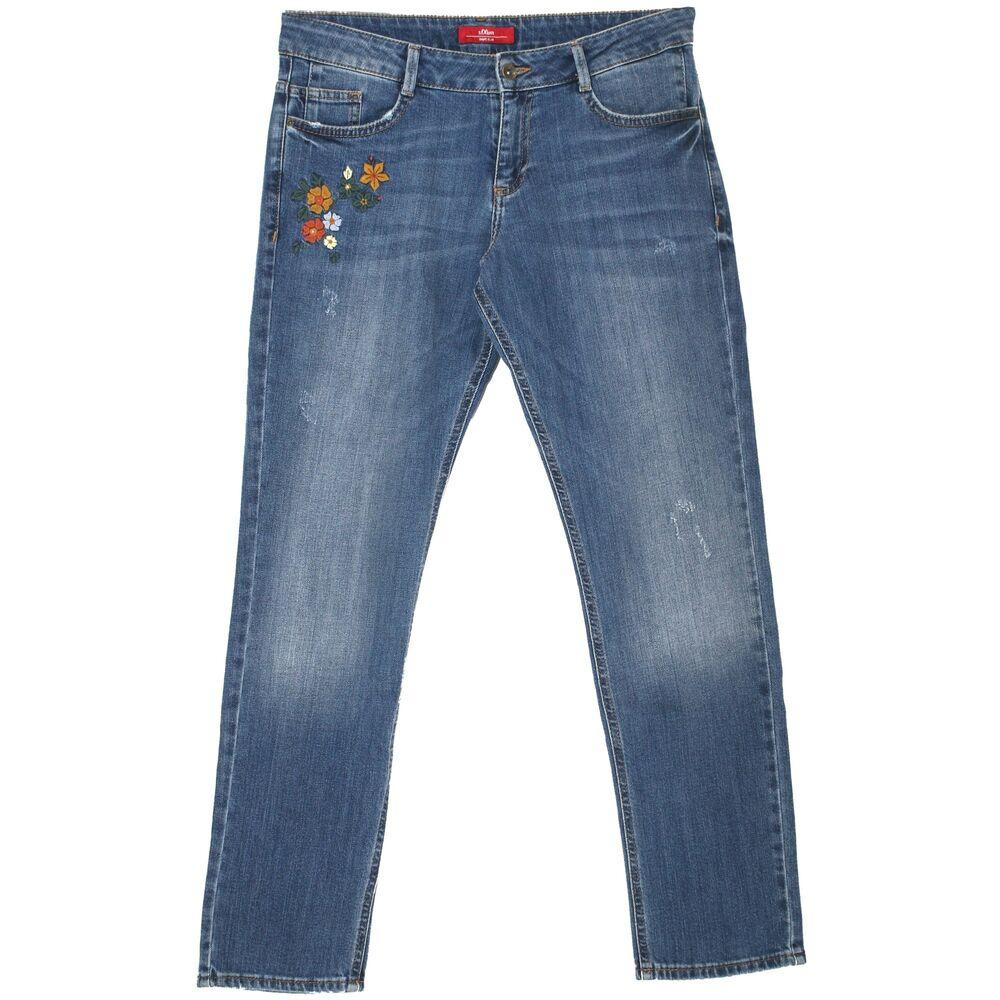 21697 S Oliver 7/8 Jeans Femmes Pantalon Forme Slim Stretch Blue Flower Bleu