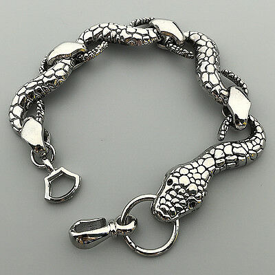 "Men's Gothic Stainless Steel Silver Tone Snake Bracelet Chain 8"""