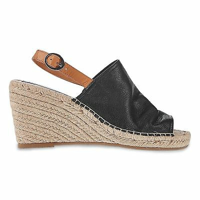 891ff24ab69 Ex Marks and Spencer Leather Wedge Heel Espadrilles Insolia® Black and Pink  | eBay