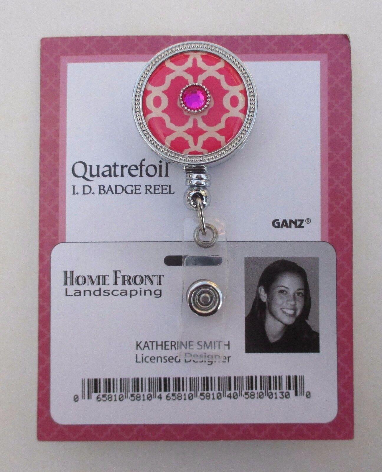 AH Pink quatrefoil ID BADGE holder Retractable REEL ganz teacher nurse