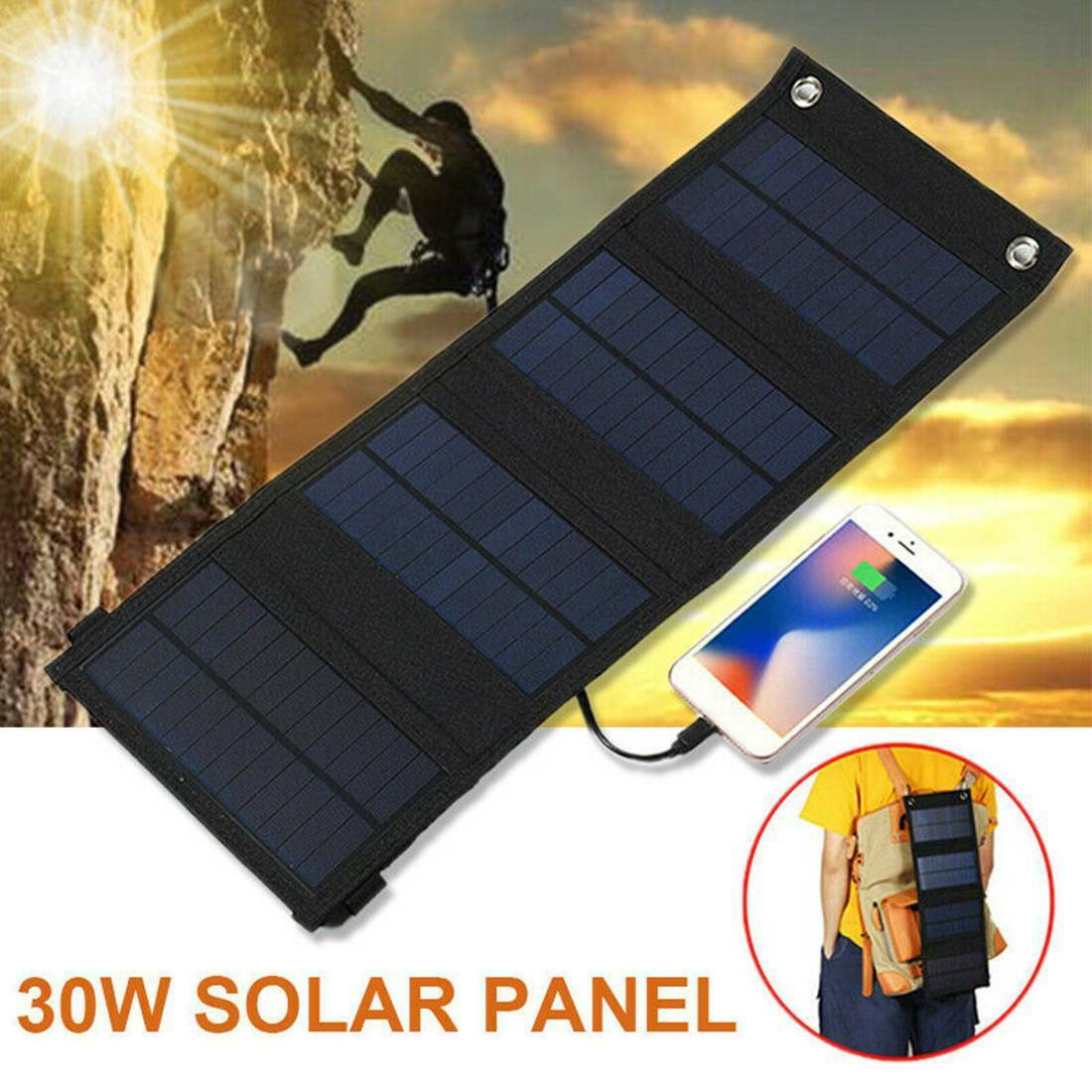 30W 5V 4 Folding Solar Panel USB Phone Battery Charger Backup Power Bank Outdoor