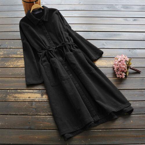 ZANZEA Women Corduroy Long Shirt Dress Tunic Buttons Down Midi Dress Plus Tops