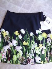 Victoria Beckham Target Black Satin Photo Floral Skirt (Small) - Free Shipping
