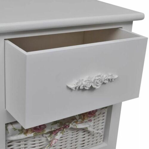 Korb-Kommode mit 1 Schublade und 3 Körben Weiß Holz