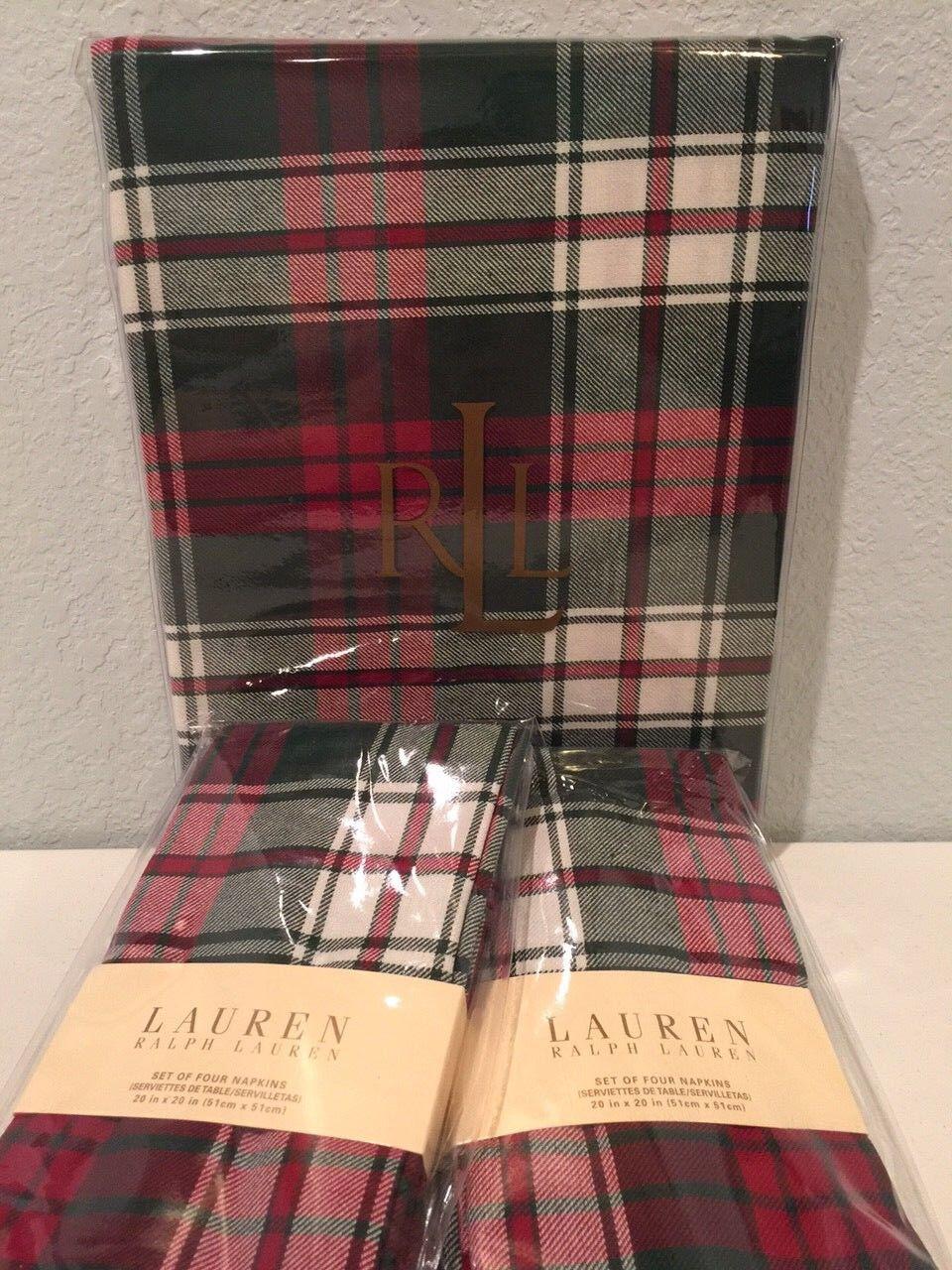 Ralph Lauren Nicolas Tartan Plaid 60  X 84  Oblong nappe 8 serviettes set