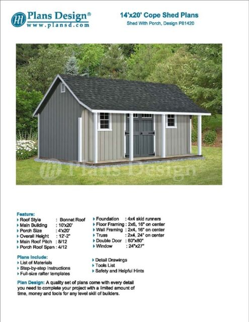 14u0027 X 20u0027 Storage Shed With Porch Plans For Backyard Garden   Design #