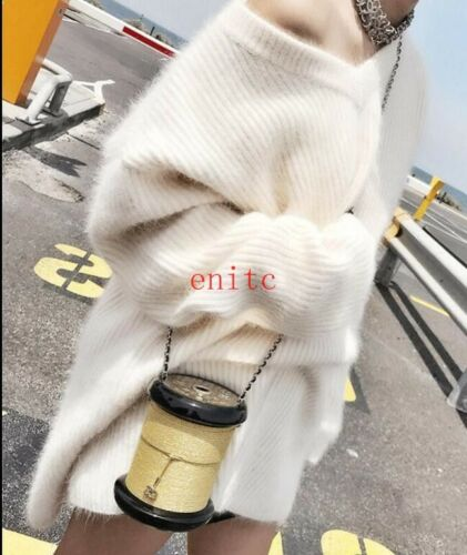 Sweater hals Sleeve Fashion V Thicken Womens Chic Mid tops pels long Bat Sweaters RAWU6nW