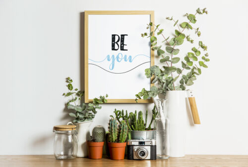 Be You Inspirational Quote Wall Art Print For Bedroom