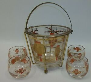 Vtg-Mid-Century-Gold-amp-Coral-Chinese-Lantern-Barware-Ice-Bucket-Rock-Glass-Set