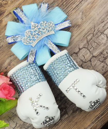 sparkly boxing gloves pram charm in baby blue bling rhinestones