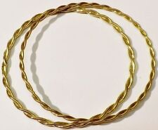 bracelet lot de 2 bijoux vintage rigide torsadé couleur or brillant * 5298
