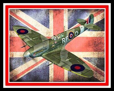 SPITFIRE AIRCRAFT UNION JACK FLAG RAF ROYAL AIR FORCE METAL PLAQUE TIN SIGN 1654