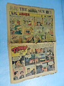 VTG-1944-8pg-SUNDAY-COMIC-SECTION-Superman-Li-039-l-Abner-Orphan-Annie-Buck-Rogers
