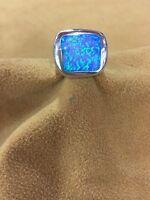 Rectangular Shape Sterling Silver .925 Blue/green Gilson Opal Ring Size 7.5