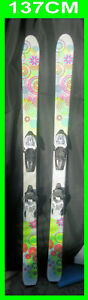 snow-skis-137-CM-Hippy-Flower-Pattern-Marker-Brand-Bindings-Youth