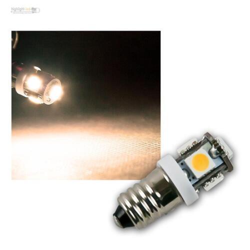 5x 3-Chip SMD LEDs 12V DC Birne Lampe E-10 10 x LED Leuchtmittel E10 warmweiß