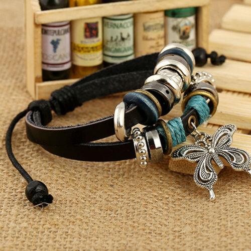 Charm Bracelet Vintage Multicouche Papillon Perle Cuir Tressé Strand Bracelets