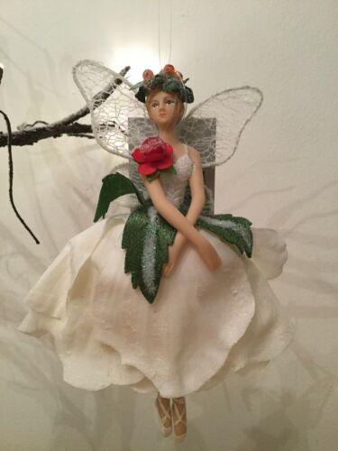 Gisela Graham Resin White Fabric Rose Fairy Christmas Decoration Large 16cm