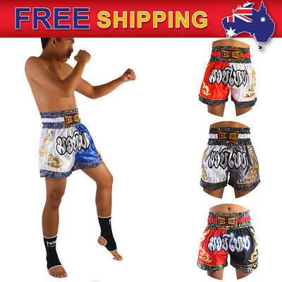 THAI KICK BOXING SHORTS MUAY THAI MARTIAL ART  2 TONE SATIN WHITE /& BLUE