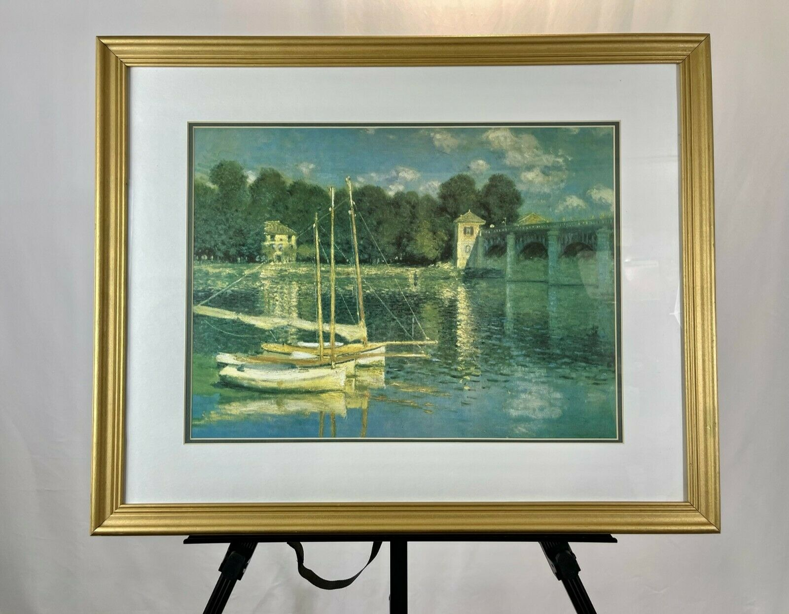 Vintage Claude Monet Bridge at Argenteuil Gallery-Quality Lithograph Print Frame on eBay thumbnail
