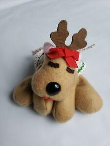 VITAGE-1984-Hallmark-Rhonda-Reindeer-Plush-Bean-Bag-Polka-Dot-Skirt