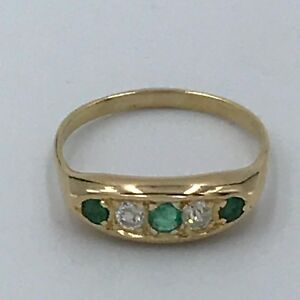 George V 18ct Gold Boat Shaped Emerald And Diamond Ring Sz L1/2 #285