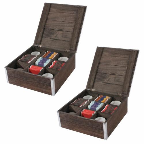 shabby-Look 2x Boîte de rangement bijoux Teebox sockenbox 24x24x10 cm