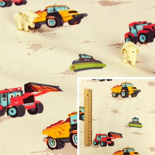 CREAM Meter//Fat Quarter//FQ 100/% Cotton Fabric Sew Quilt Craft Tractors Truck Boy