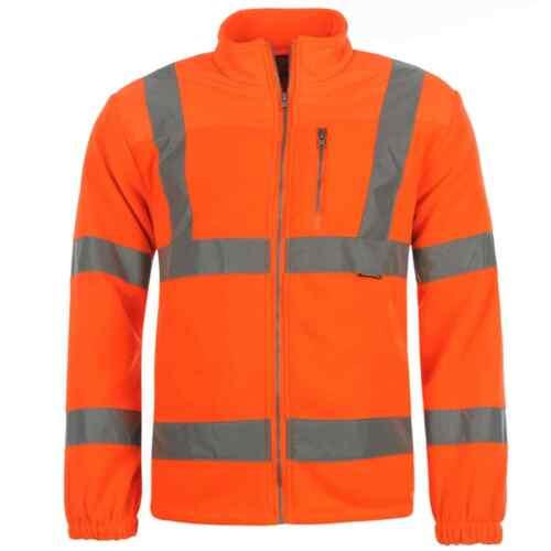 Dunlop Homme HI VIS Veste Polaire Workwear Manteau Haut Fermeture Éclair Chaud Poche Poitrine