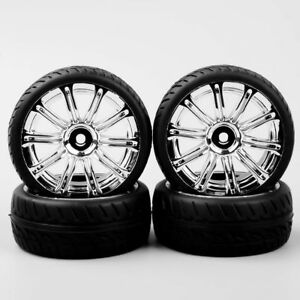 4PCS-1-10-RC-Flat-Wheel-amp-Rubber-Tires-Rim-Set-12mm-Hex-For-On-Road-Racing-Car