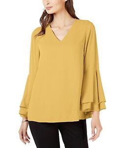 Alfani-Womens-Blouse-Gold-Yellow-Size-16-Tiered-Bell-Sleeve-V-Neck-59-253