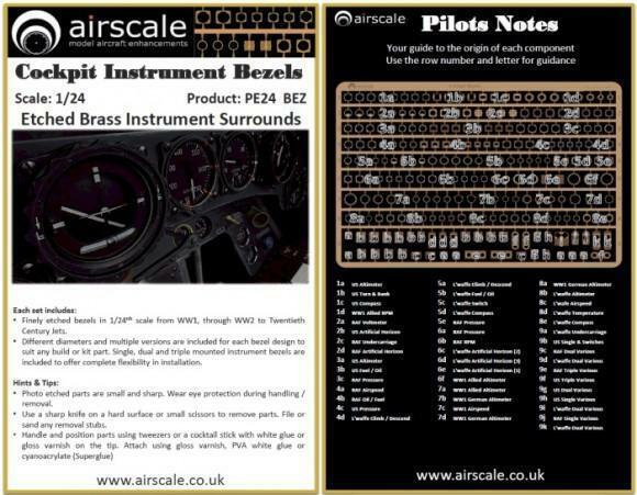 Airscale 1 24 photo etch aircraft instrument bezels PE24BEZ